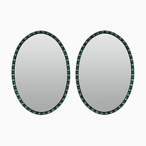 Georgian Style Irish Mirrors With Emerald Studded Borders, 1970s, Set of 2