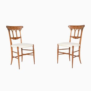 Slim Italian Side Chairs from Chiavari, 1950s, Set of 2
