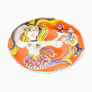Vintage Italian Oval Ceramic Plate by Giovanni De Simone, 1960s