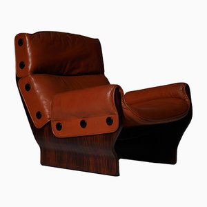 Mid-Century Rosewood P110 Canada Lounge Chair by Osvaldo Borsani for Tecno