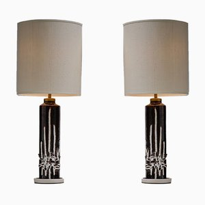 Mid-Century Italian Ceramic Table Lamps, 1960s, Set of 2