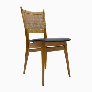 Wooden and Leather Dining Chair, Germany, 1950s