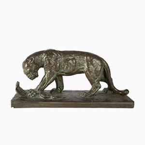 Art Deco Sculpture, Walking Panther with Cobra, Felix Gui