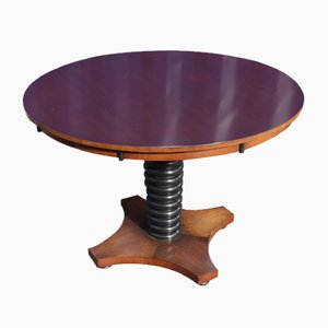 Round Mahogany Side Table with Ebonized Centre Column, 1920s