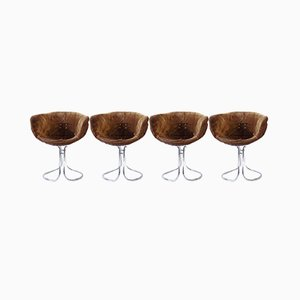 Chaises de Salon en Daim par Gastone Rinaldi pour Rima, 1960s, Set de 4