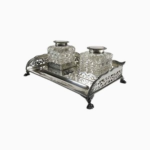English Victorian Sterling Silver Inkwell by Harry Wright Atkin, Sheffield, 1897, Set of 3