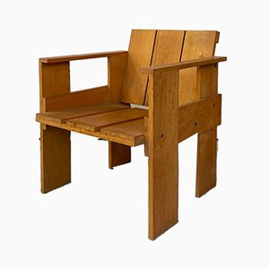 Mid-Century Italian Beech Crate Chair by Gerrit Rietveld for Cassina, 1934