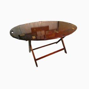 Foldable Mahogany and Brass Table, Italy, 1960s
