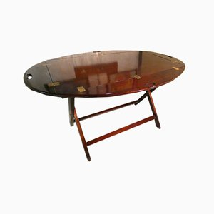 Table Pliante en Acajou et Laiton, Italie, 1960s