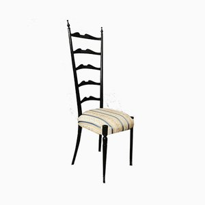 Mid-Century Wooden & Damask Chiavari Dining Chair, Italy, 1950s