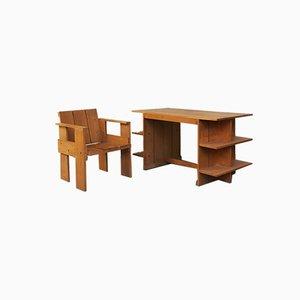 Bureau et Chaise Crate en Hêtre par Gerrit Rietveld pour Cassina, Italie, 1934, Set de 2