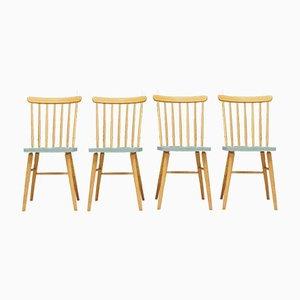 Danish Beech Dining Chairs, 1970s, Set of 4