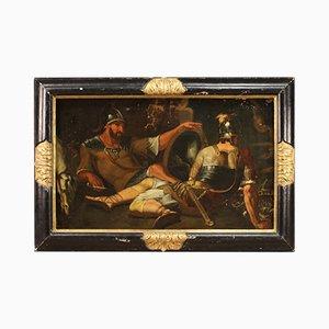 Antique Italian Warriors Painting, 18th-Century