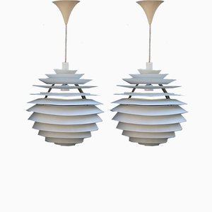 Metal PH Louvre Ceiling Lamps by Poul Henningsen, 1960s, Set of 2