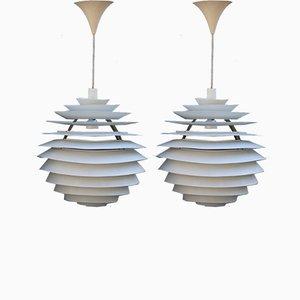 Metall PH Louvre Deckenlampen von Poul Henningsen, 1960er, 2er Set