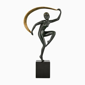 Sculpture Art Déco en Bronze, Danseur de Nu avec Echarpe, Zoltan Kovats