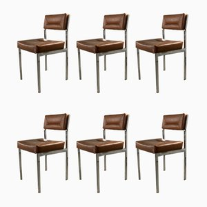 French Leatherette Dining Chairs, 1950s, Set of 6