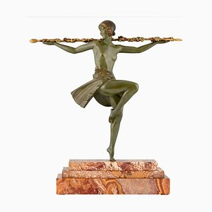 Scultura Art Déco in bronzo, ballerina nuda con tirso, Pierre Le Faguays