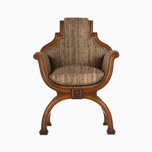 19th Century Oak X-Frame Armchair