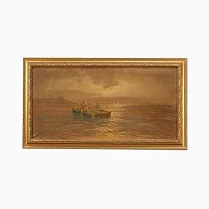 Pintura, paisaje marino con barcos y pescadores