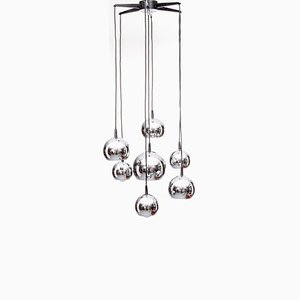 Dutch Chandelier with 7 Chrome Spheres, 1970s