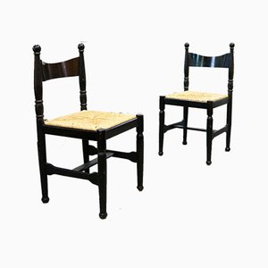 Mid-Century French Shaker-Shaped Dining Chairs, 1950s, Set of 2
