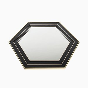 Vintage French Hegaxonal Gold-Plated & Black Lacquered Mirror by Jean Claude Mahey, 1970s