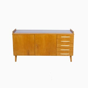Large Restored Tatra Sideboard with Bakelite Handles and Ice Blue Glass Top, 1960s