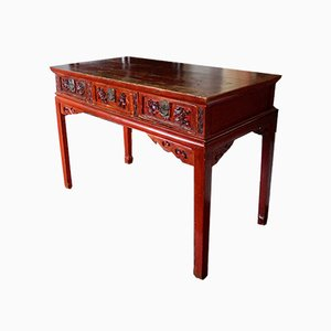 19th Century Red Lacquer Chinese Table