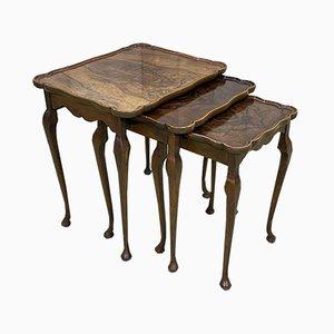 Tables Gigognes en Ronce de Noyer, 1950s, Set de 3