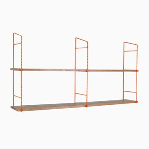 Mid-Century Restored Orange Iron Framed Shelves, 1960s