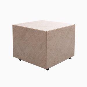 Travertine Cube Table on Wheels, 1970s