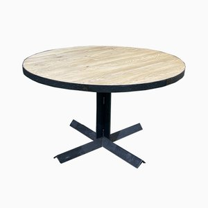 Vintage Industrial Round Oak Dining Table