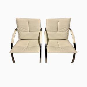 Weiße Arco Stühle von Paul Tuttle für Strässle, 1980er, 2er Set