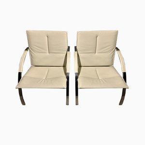 White Arco Chairs by Paul Tuttle for Strässle, 1980s, Set of 2