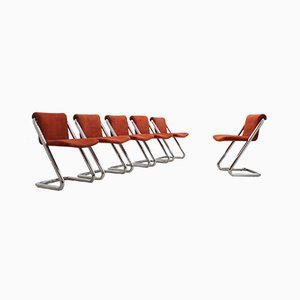 Chaises de Salon Cantilever Vintage en Chrome, 1970s, Set de 6