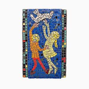 Glas Mosaik von spielenden Kindern, 1960er