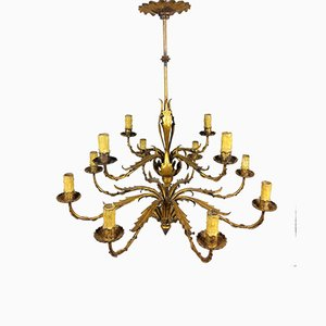 Gilded 12-Arm Chandelier Decorated with Leaves, 1940s