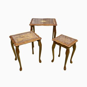 English Yew Nesting Tables, 1960s, Set of 3