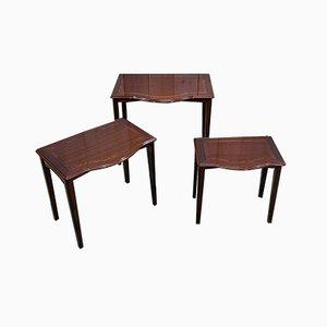 Tables Gigognes en Acajou, 1960s, Set de 3