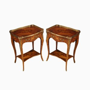 Inlaid Rosewood Bedside Tables, 1960s, Set of 2