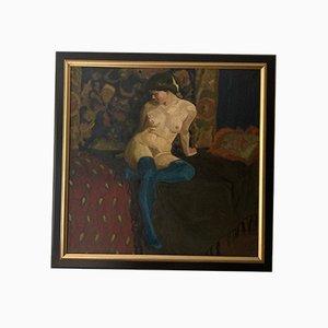 Art Deco Painting, Oil on Canvas, Female Nude Portrait, Herbert Rolf Schlegel, 1920s