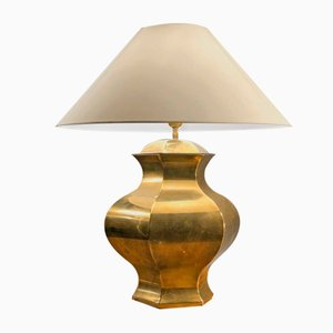 French Neoclassical Style Brass Gold Table Lamp, 1970s