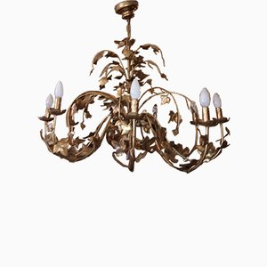 Vintage Gold Pressed Steel & Ivy Leaves 9-Light Chandelier by Maison Chaumette, Paris, 1970s