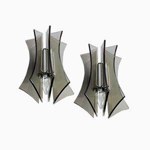 Italienische Rauchglas & Chrom Wandlampen, 1960er, 2er Set
