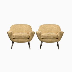 Italian White & Yellow Bouclé Armchairs with Steel Legs, 1960s, Set of 2