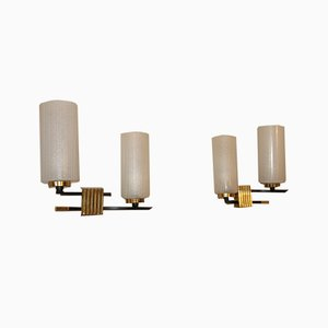 Mid-Century French Brass & Opaline Glass Sconces by Maison Arlus for Arlus, 1950s, Set of 2