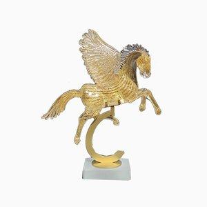 24 Karat Vergoldeter Pegasus Sockel von Arnaldo Zanella, 20. Jhdt
