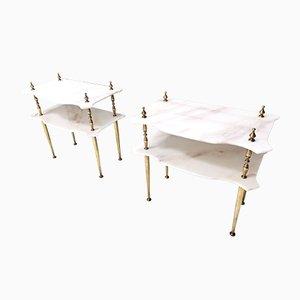 Tables de Chevet avec Plateaux en Marbre et Pieds en Laiton, Italie, 1960s, Set de 2