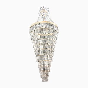 Very Large Crystal Cascade Chandelier with 5100 Pieces of Cut Crystals, 1960s